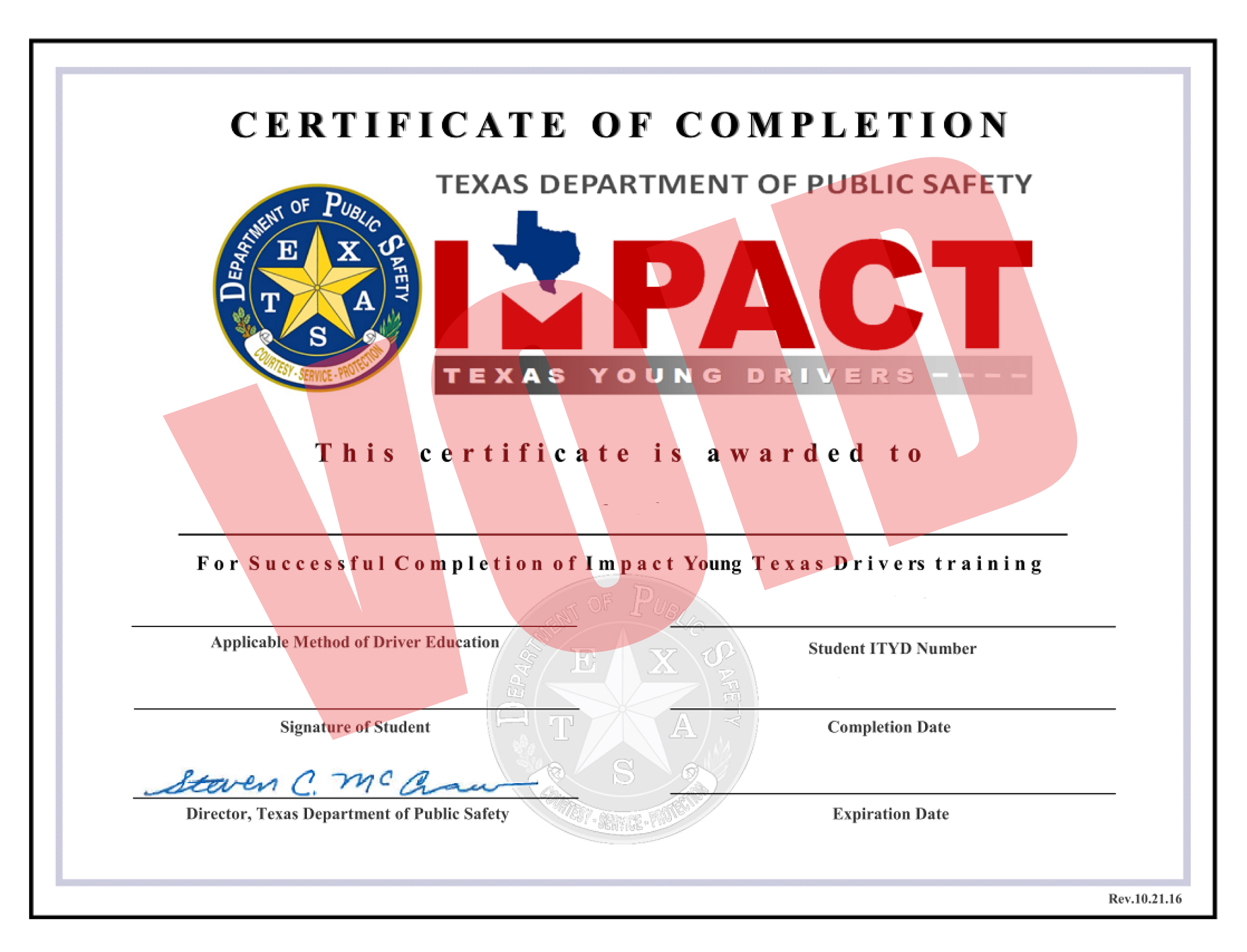 Image result for sample Texas ITYD Certificate